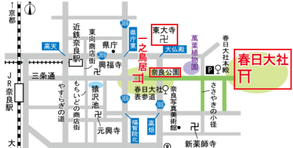 奈良駅周辺の地図です。