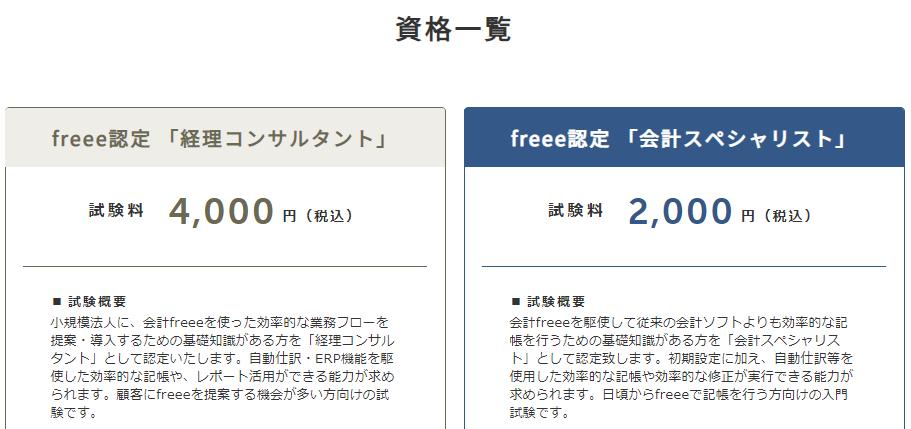 会計freeeの認定資格一覧です。