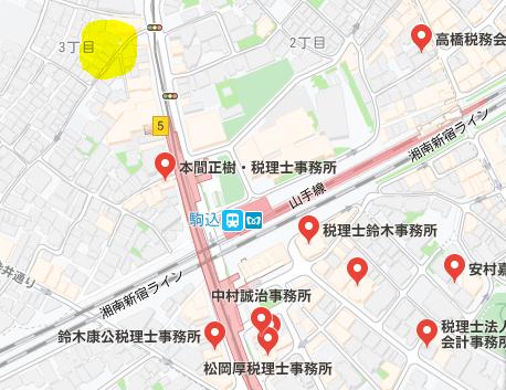 自宅兼事務所付近の地図です。