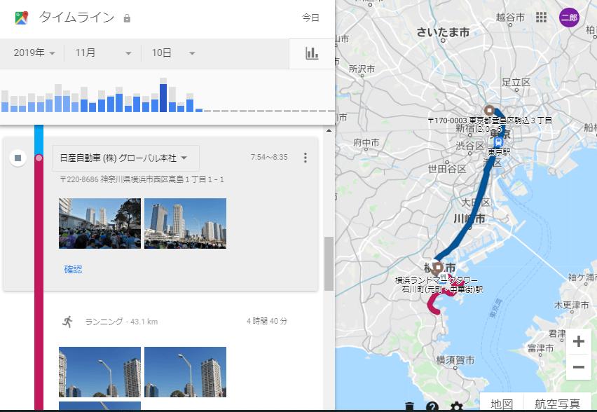 横浜マラソン当日のGoogleタイムライン